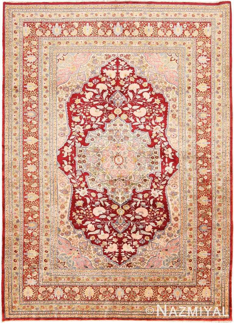 Antique Silk Persian Tabriz Rug 70767 by Nazmiyal NYC