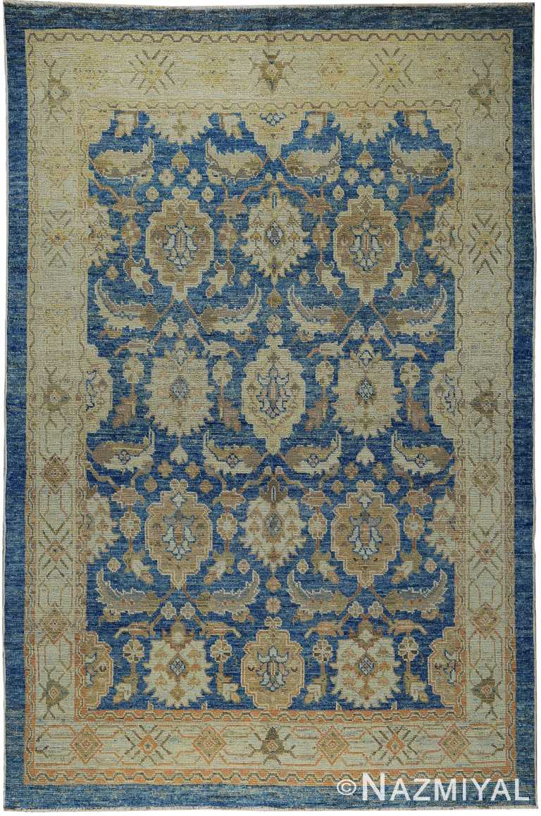 Beautiful Blue and Gold Modern Turkish Oushak Rug 60418 by Nazmiyal NYC