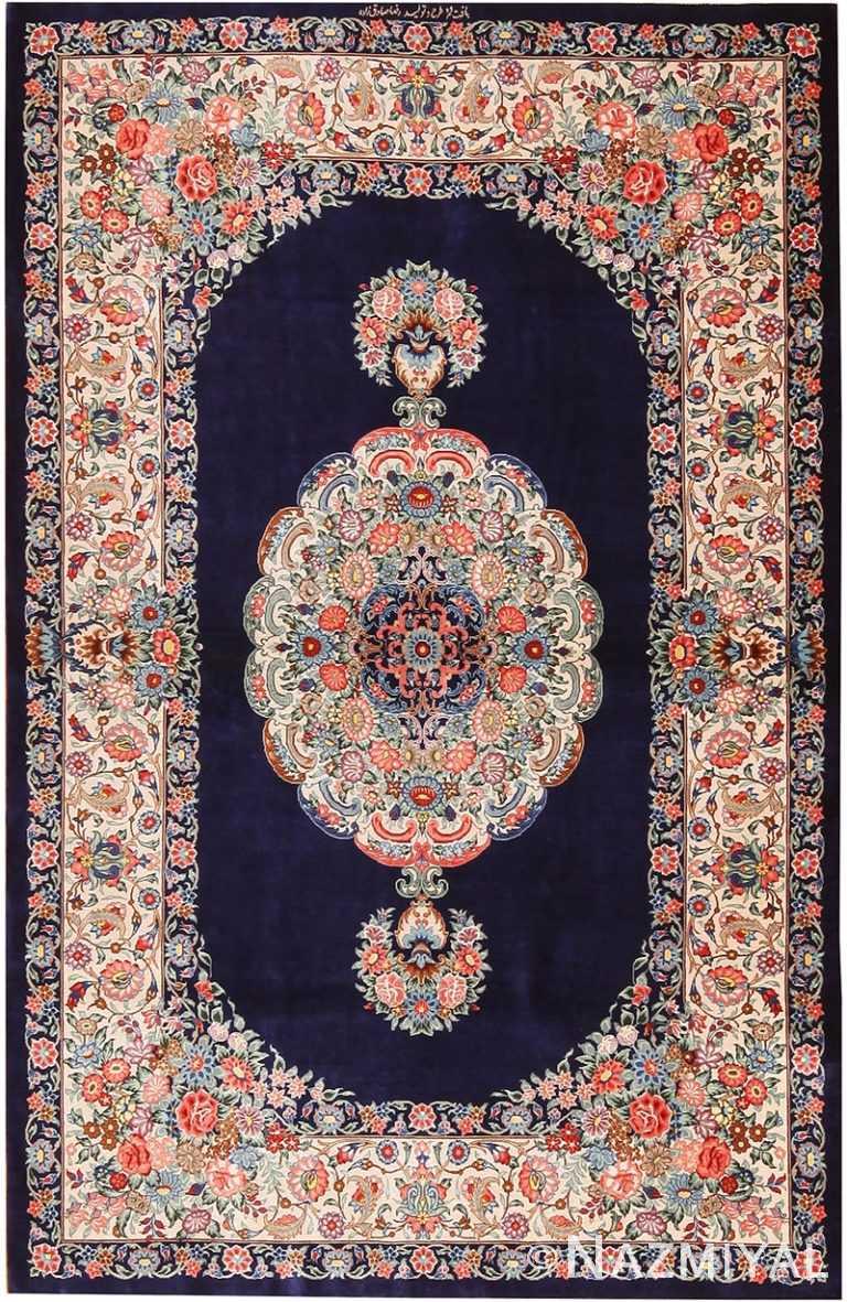 Blue Background Floral Vintage Persian Silk Qum Rug 70787 by Nazmiyal NYC