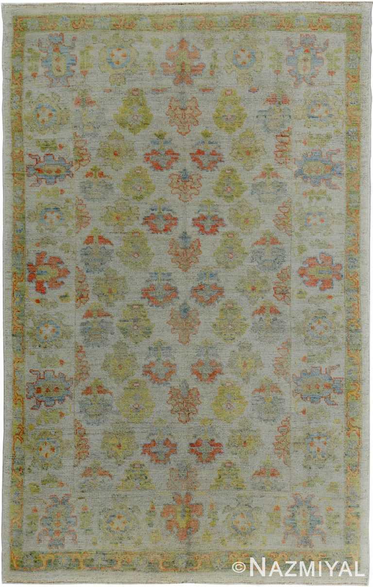 Decorative Soft Green Modern Turkish Oushak Rug 60404 by Nazmiyal NYC