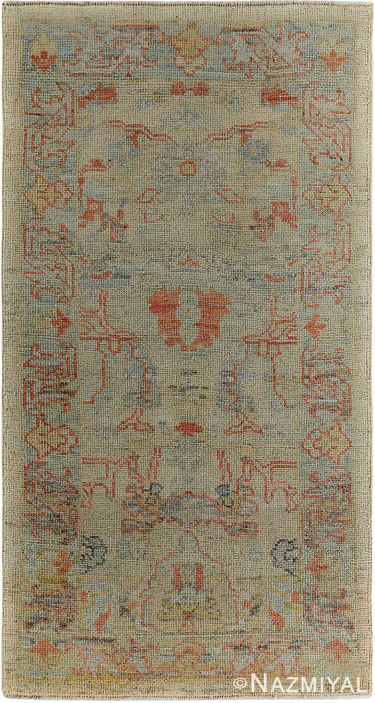 Earth Tones Modern Turkish Oushak Rug 60396 by Nazmiyal NYC