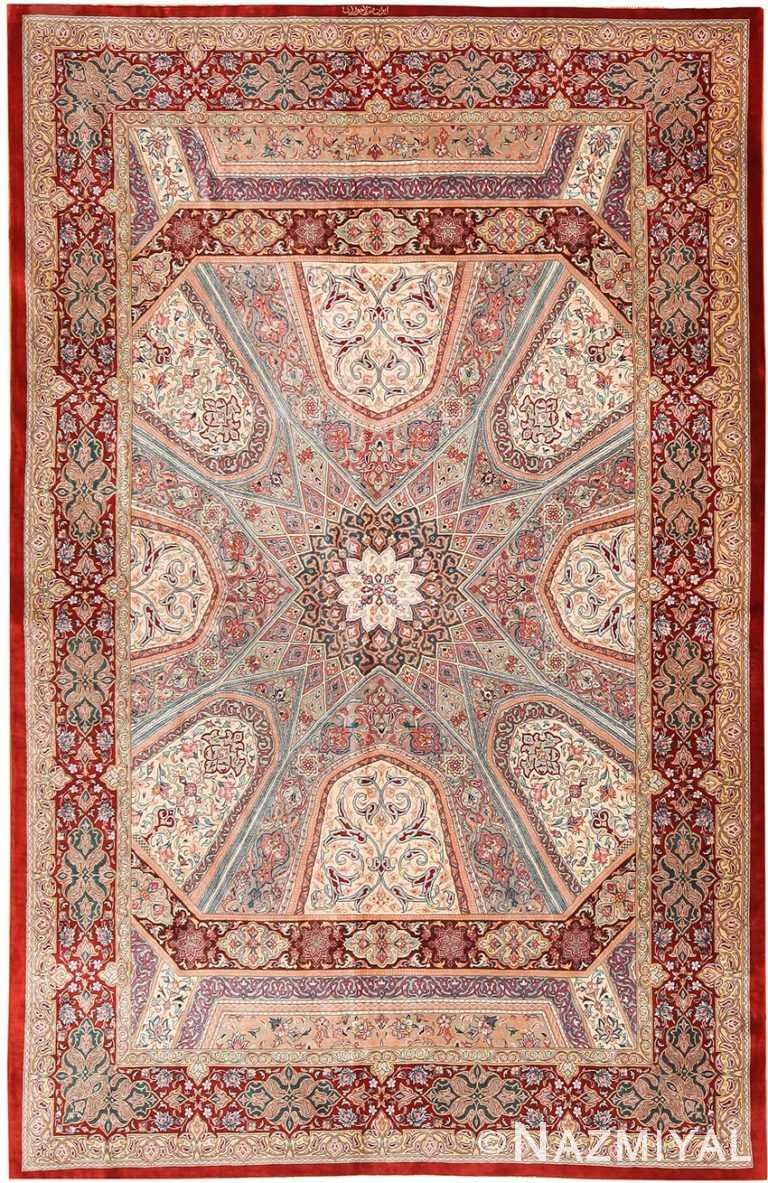 Fine Floral Geometric Vintage Persian Silk Qum Rug 70785 by Nazmiyal NYC