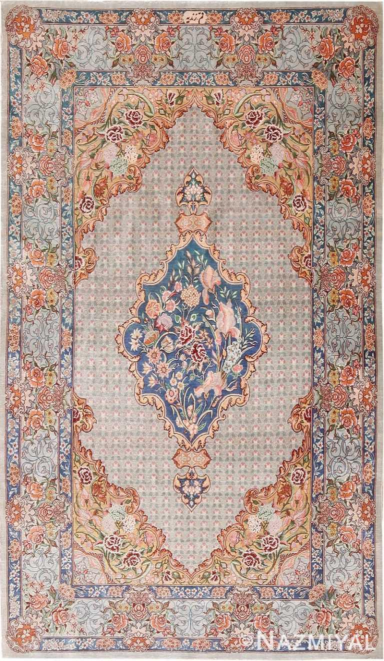 Fine Floral Medallion Vintage Persian Silk Qum Rug 70788 by Nazmiyal NYC