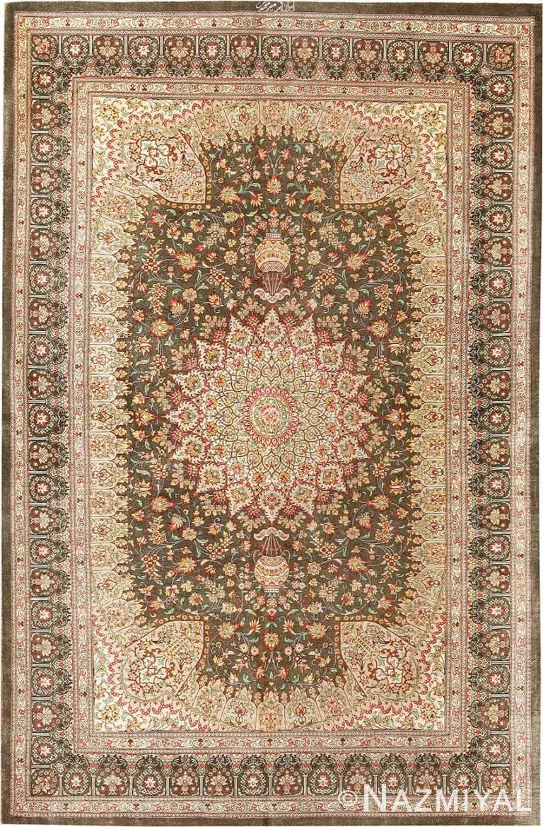 Fine Floral Silk Vintage Persian Qum Rug 70791 by Nazmiyal NYC