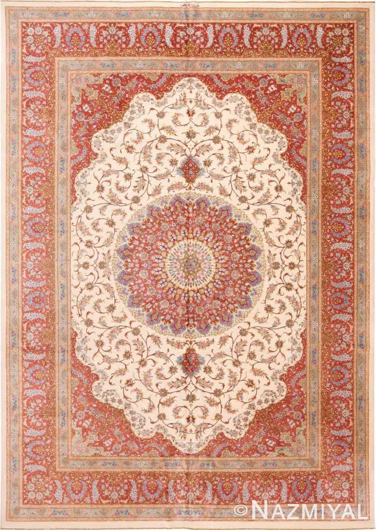 Beautiful Room Size Vintage Persian Silk Qum Rug #70115 by Nazmiyal Antique Rugs