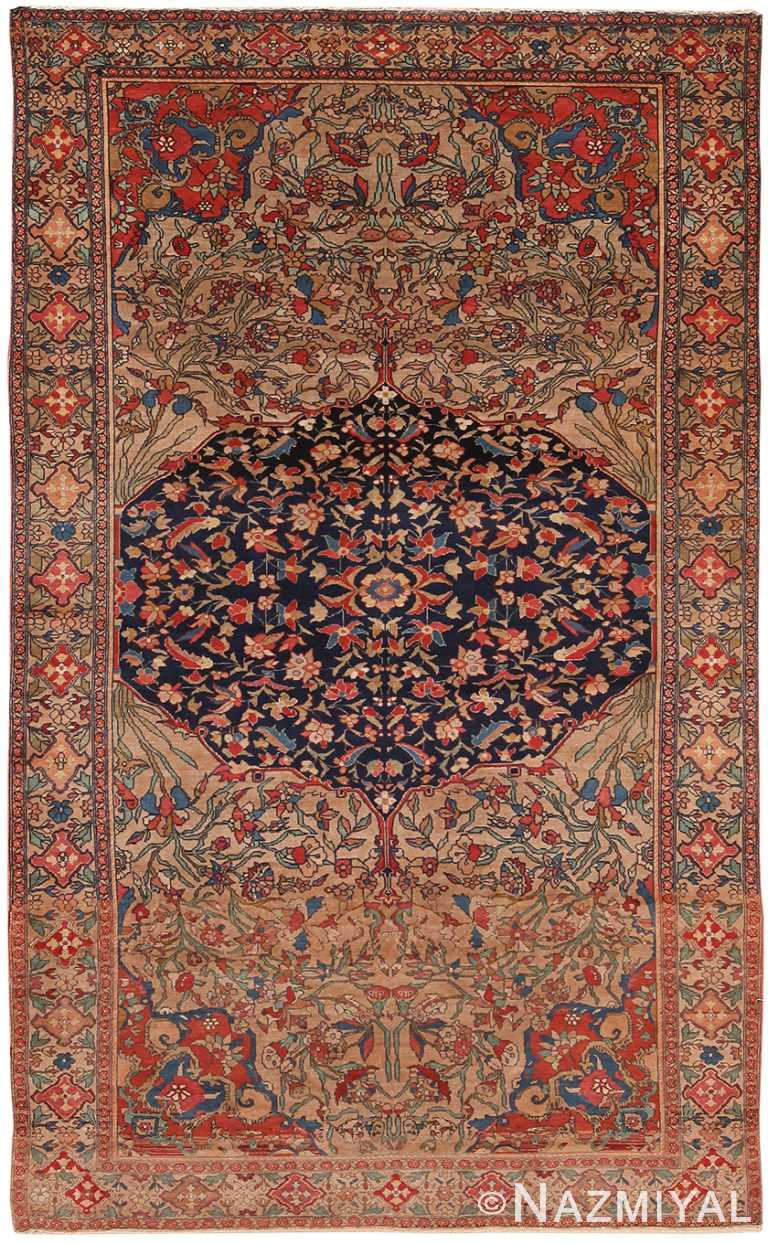 Floral Antique Persian Mishan Malayer Rug 70770 by Nazmiyal NYC