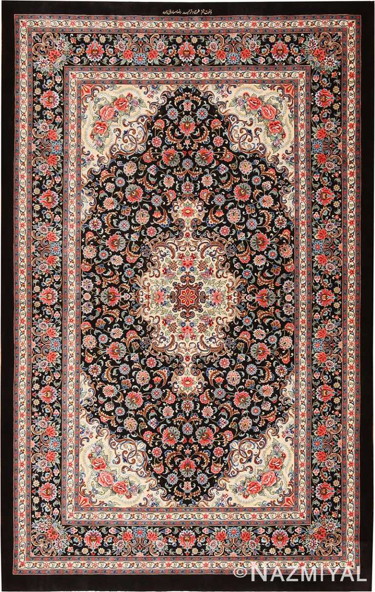Floral Vintage Persian Silk Qum Medallion Rug 70786 by Nazmiyal NYC