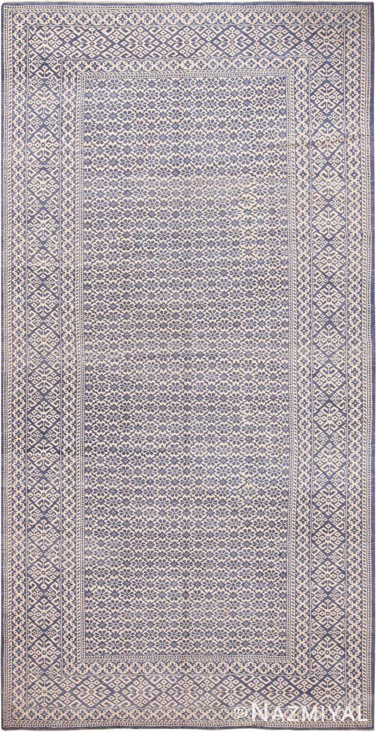 Gallery Size Decorative Modern Indian Agra Cotton Rug 60487 by Nazmiyal NYC
