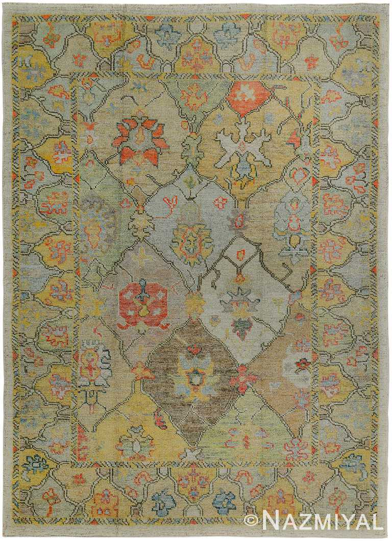 Garden Design Modern Turkish Oushak Rug 60403 by Nazmiyal