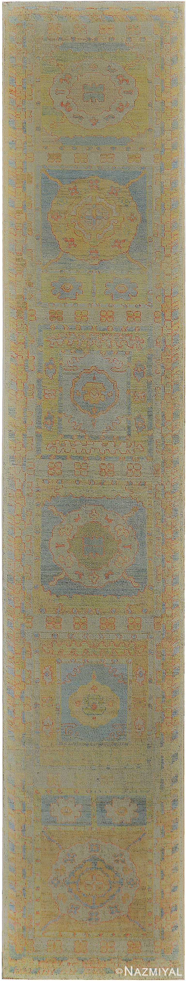 Garden Design Modern Turkish Oushak Runner Rug 60394 by Nazmiyal NYC