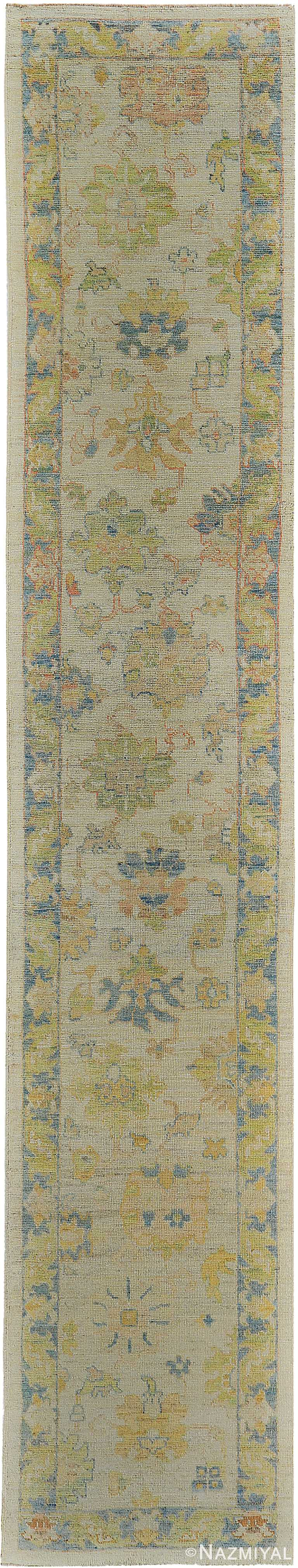 Green and Blue Modern Turkish Oushak Runner Rug 60402 by Nazmiyal NYC