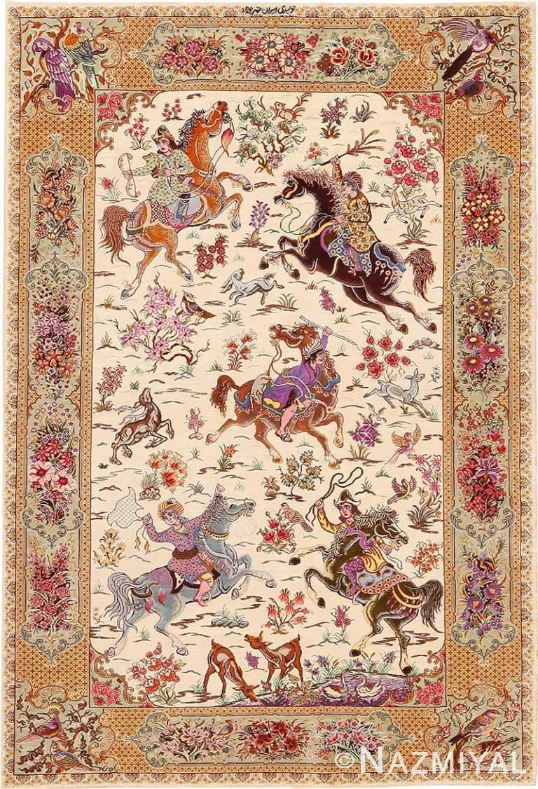 Hunting Design Vintage Persian Silk Qum Rug 70781 by Nazmiyal NYC