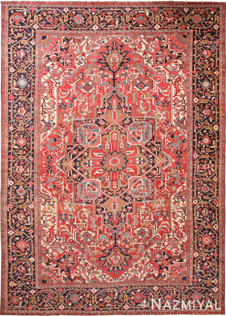 Big Geometric Antique Persian Heriz Rug #70774 by Nazmiyal NYC