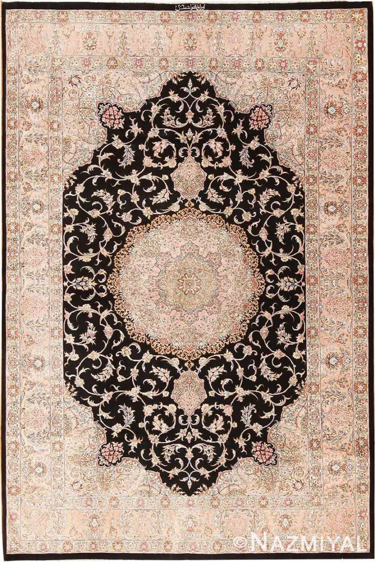 Small Decorative Vintage Persian Silk Qum Rug 70790 by Nazmiyal NYC