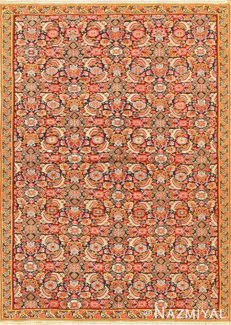Small Fine Antique Persian Senneh Kilim Rug 48802 by Nazmiyal NYC