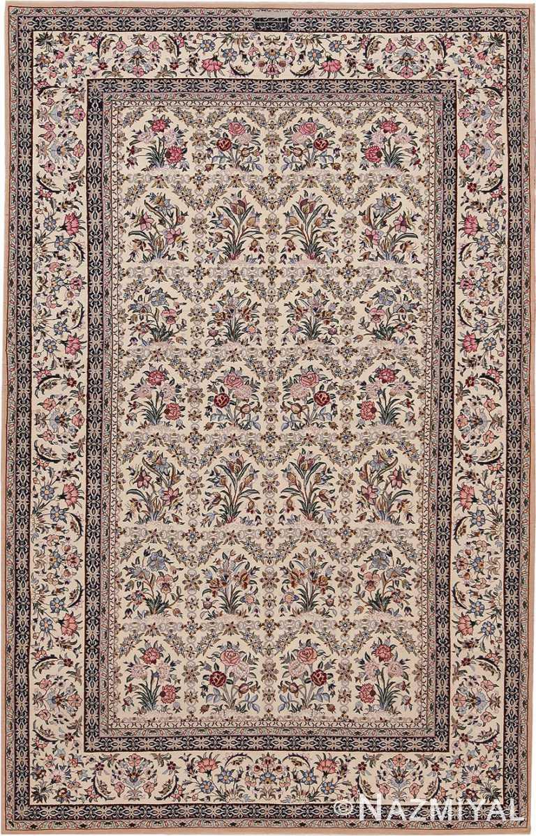 Small Vintage Persian Silk and Wool Isfahan Rug 70784 by Nazmiyal NYC