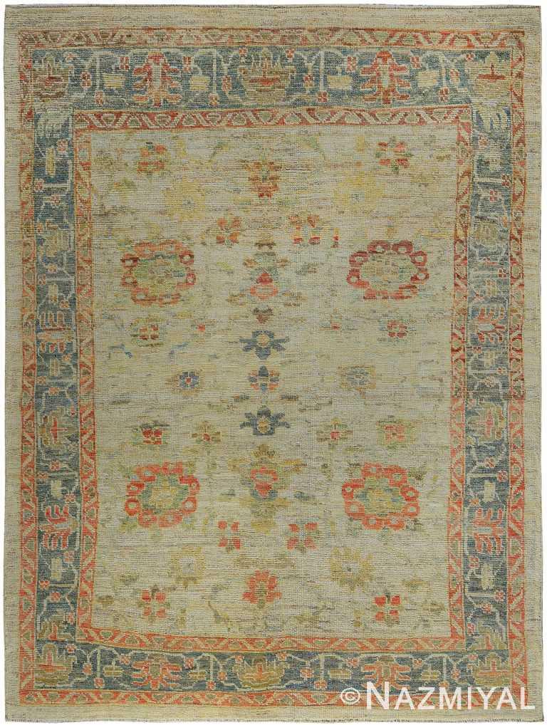 Soft Background Colorful Modern Oushak Turkish Rug 60417 by Nazmiyal NYC