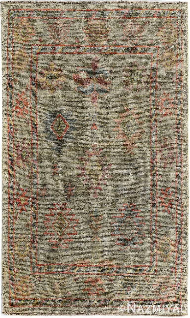 Tribal Design Modern Turkish Oushak Rug 60395 by Nazmiyal NYC