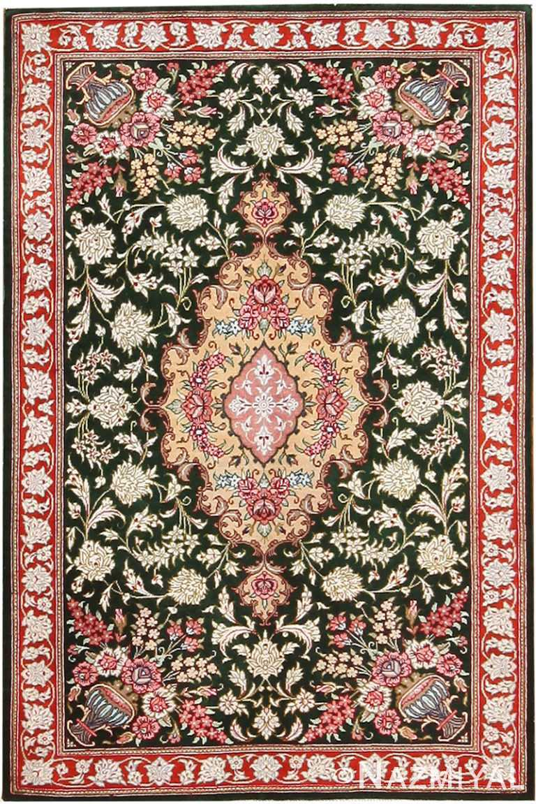 Vase Design Small Floral Vintage Persian Silk Qum Rug 70782 by Nazmiyal NYC