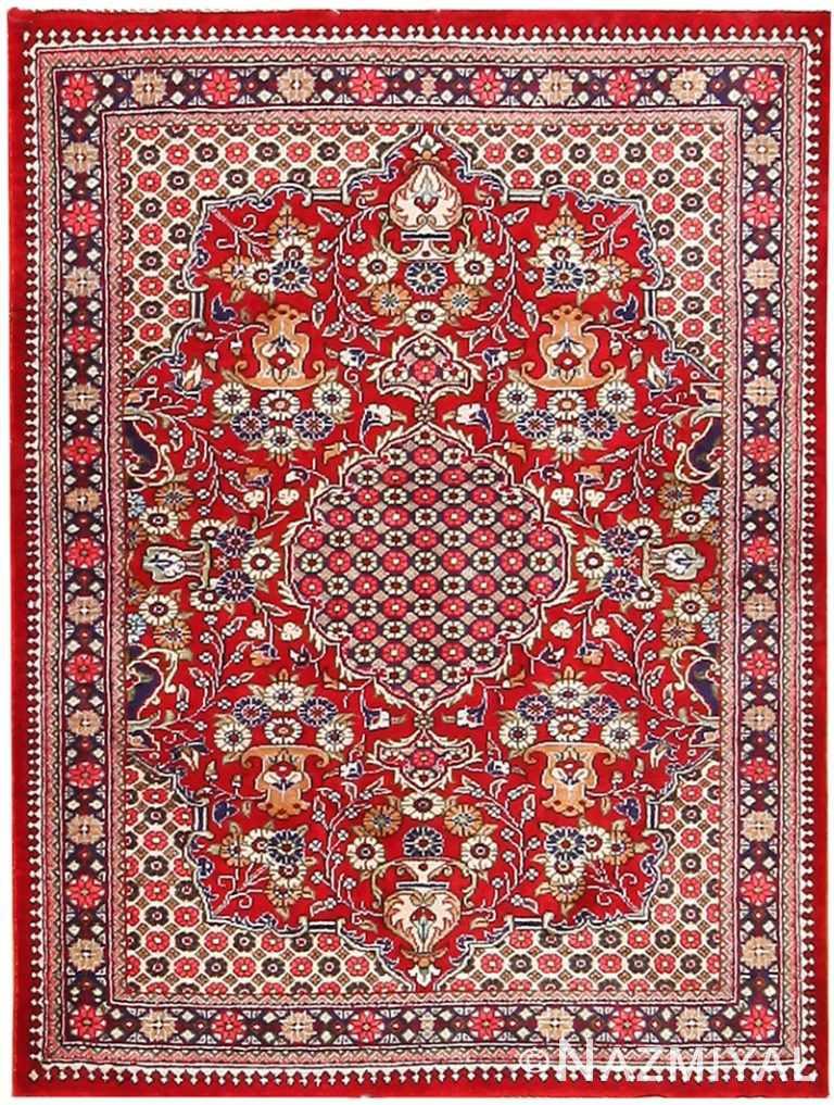 Vase Design Small Vintage Persian Silk Qum Rug 70783 by Nazmiyal NYC