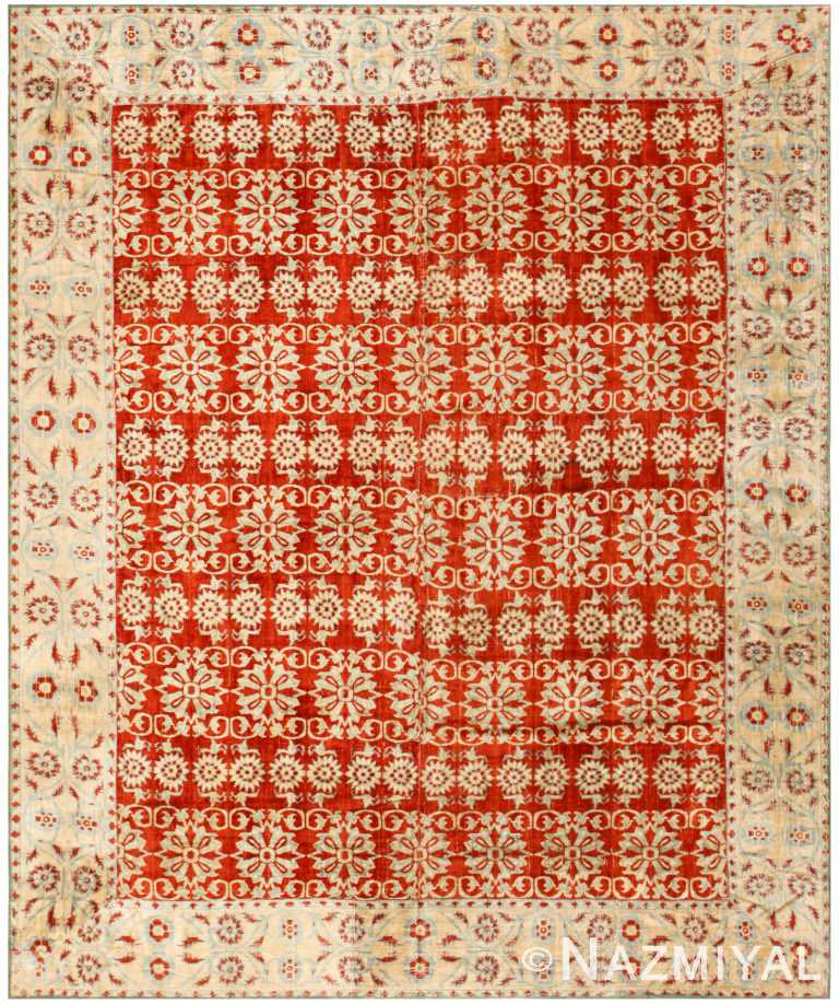 Fine Red Antique 18th Century Mughal Velvet Textile 40596 by Nazmiyal NYC