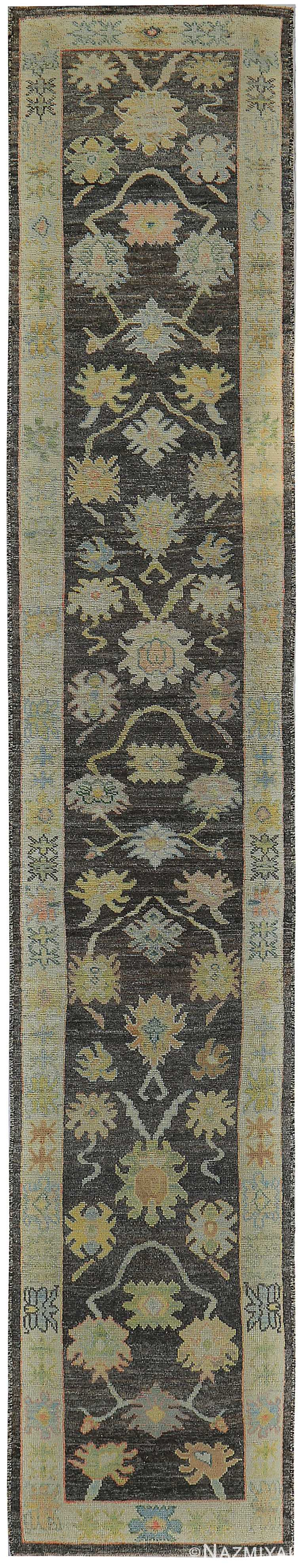 Charcoal Background Floral Turkish Oushak Runner Rug 60419 by Nazmiyal NYC