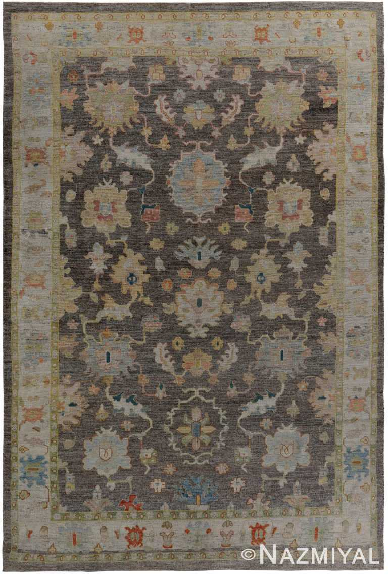 Charcoal Brown Modern Turkish Oushak Rug 60429 by Nazmiyal NYC