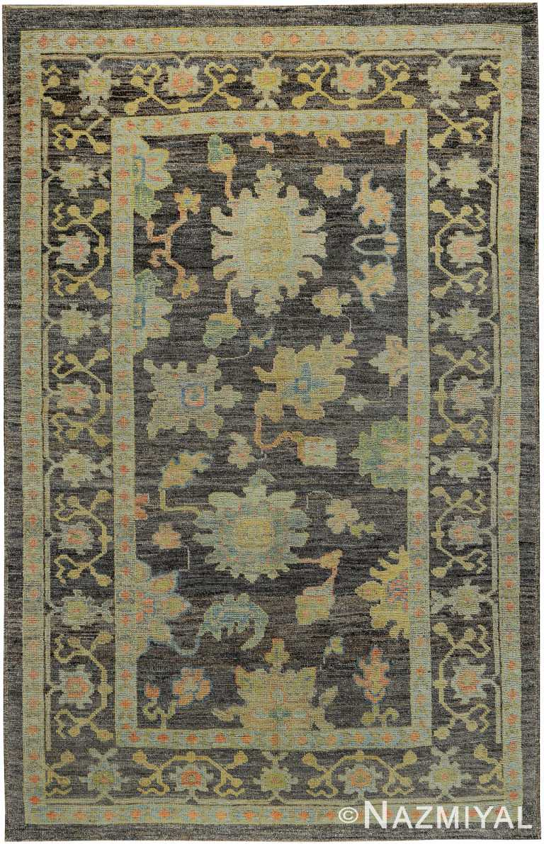 Floral Modern Turkish Oushak Area Rug 60424 by Nazmiyal NYC