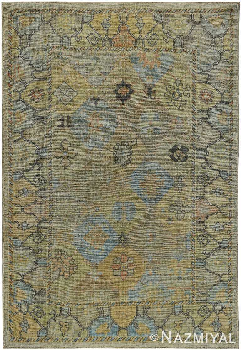 Garden Design Modern Turkish Oushak Rug 60420 by Nazmiyal NYC