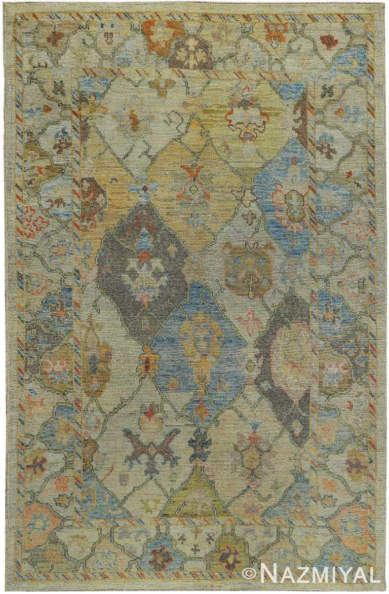 Room Size Decorative Modern Turkish Oushak Rug 60426 by Nazmiyal NYC