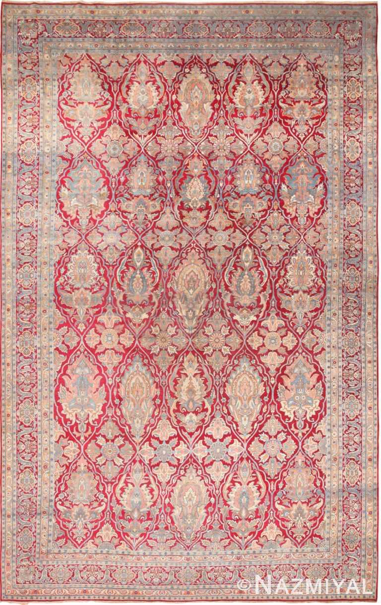 Oversized Antique Persian Shield Design Kerman Rug 70810 by Nazmiyal NYC
