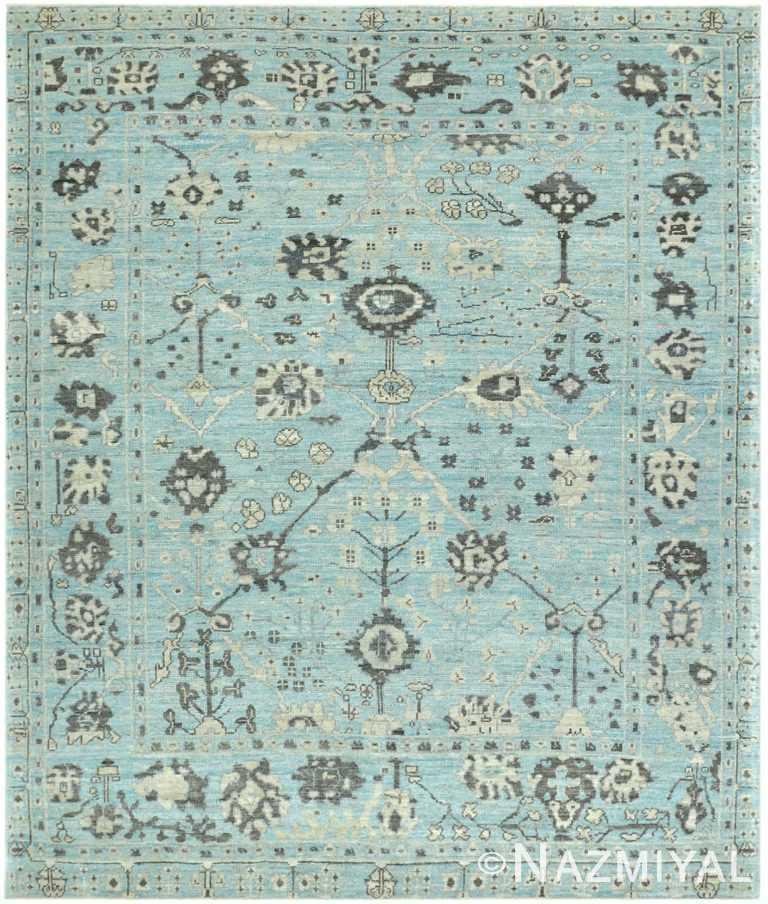 Blue Background Modern Turkish Oushak Rug 60500 by Nazmiyal NYC