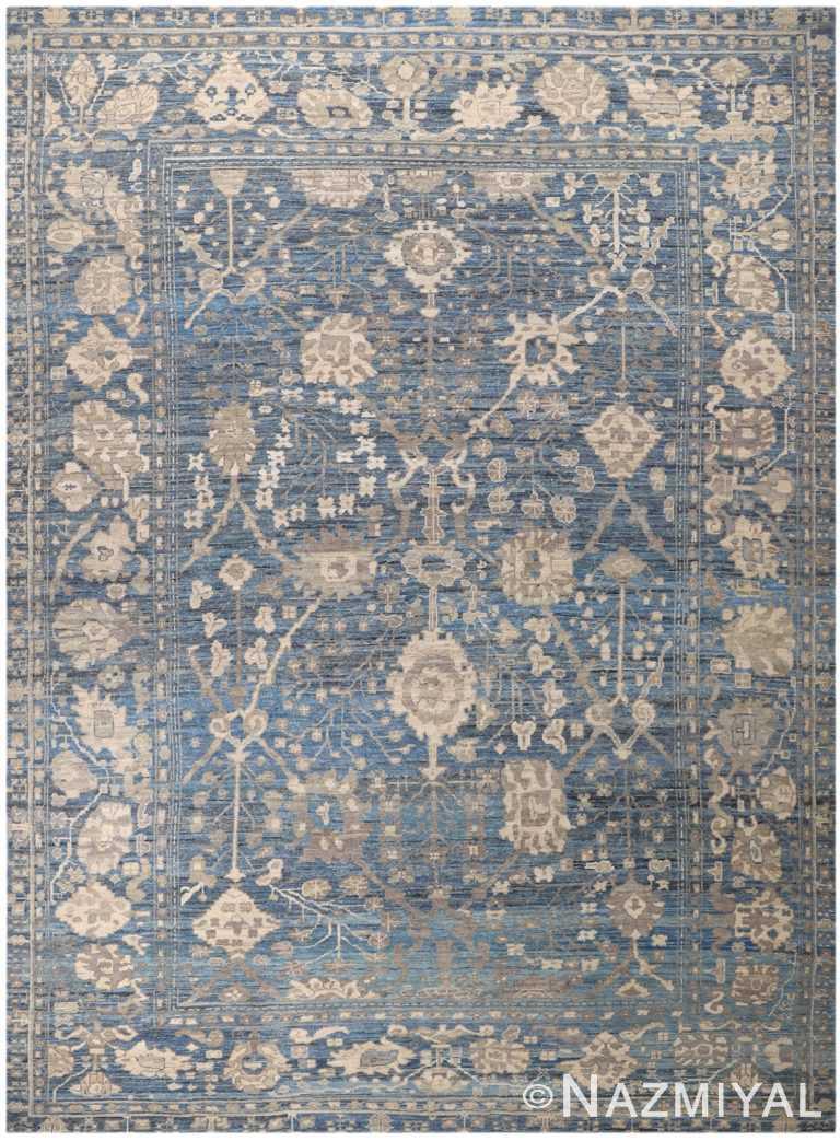 Decorative Beige and Blue Modern Turkish Oushak Rug 60504 by Nazmiyal NYC