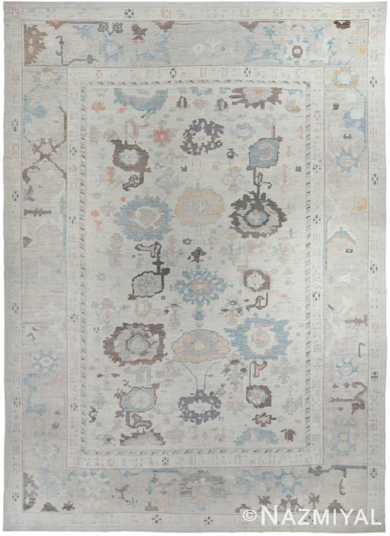 Floral Design Cream Modern Turkish Oushak Rug 60506 by Nazmiyal NYC