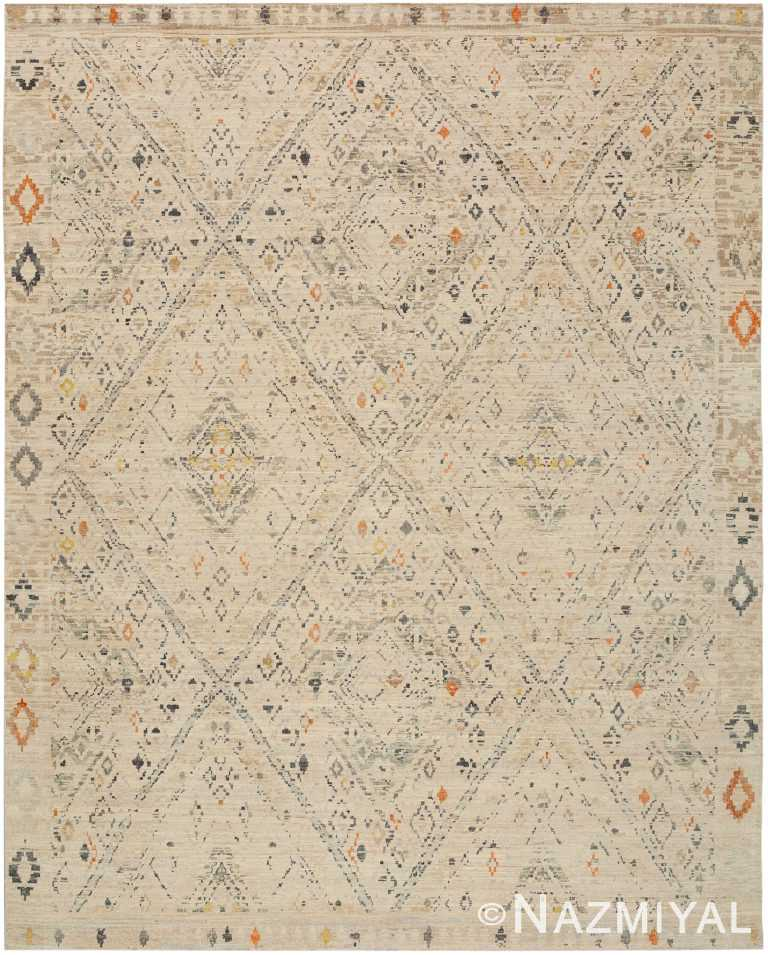 Geometric Beige Modern Boutique Rug 60555 by Nazmiyal NYC