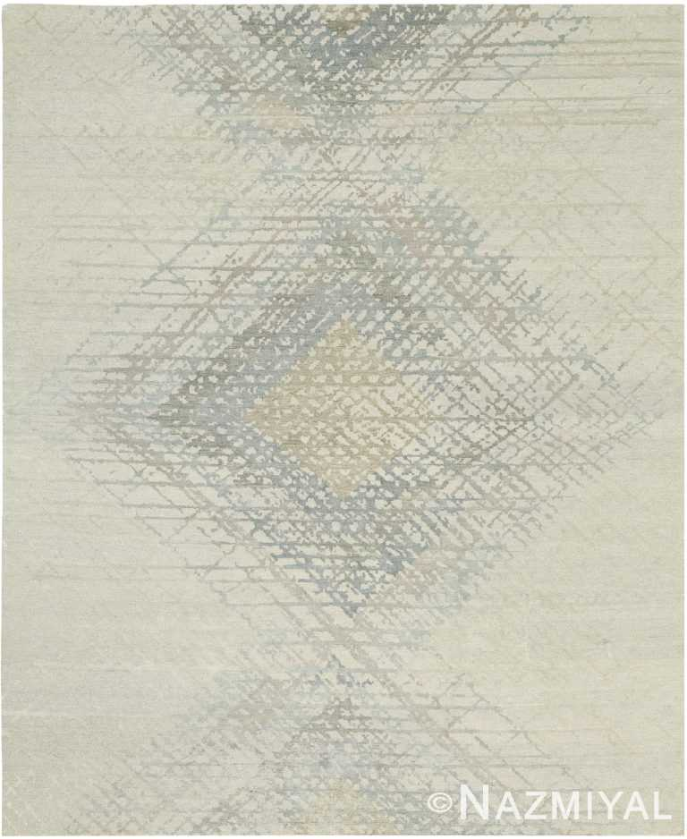 Geometric Cream and Silver Modern Boutique Rug 60554 by Nazmiyal NYC