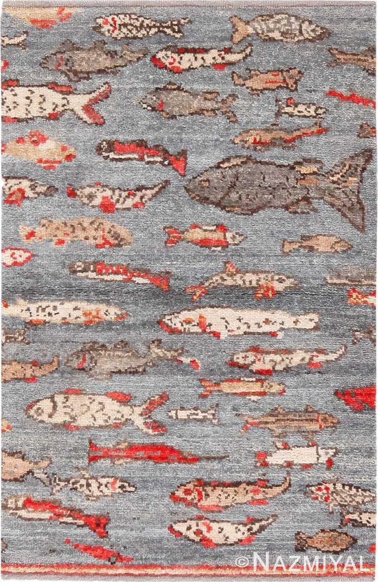 Modern Wool Pile Fish Design Custom Turkish Rug Sample #50746 by Nazmiyal Antique Rugs