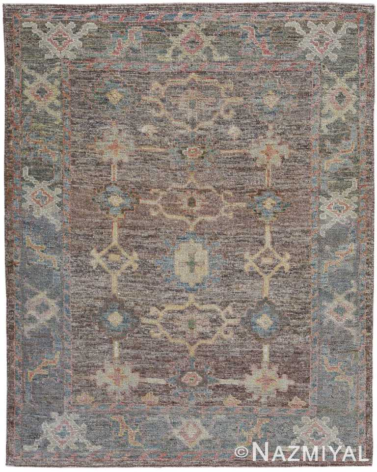 Small Earth Tones Modern Turkish Oushak Rug 60510 by Nazmiyal NYC