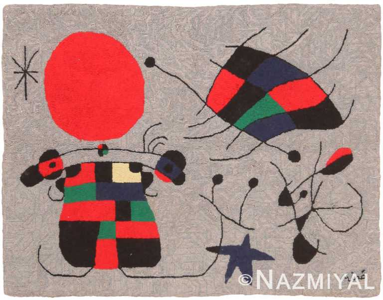 Vintage Joan Miro Tapestry Rug 70836 by Nazmiyal NYC
