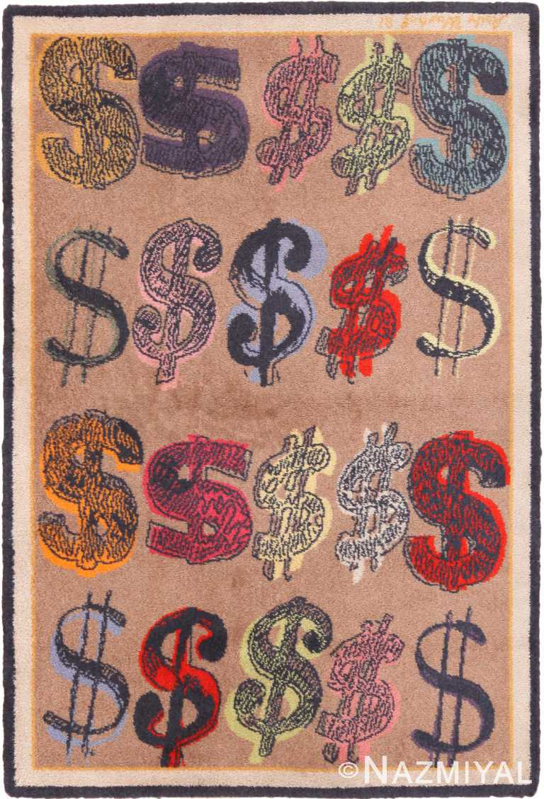 Vintage Pop Art Andy Warhol Dollar Sign Rug 70830 by Nazmiyal NYC