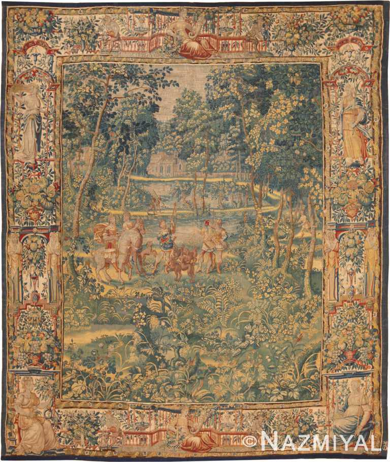 17th Century Silk Antique French Tapestry 70856 by Nazmiyal NYC