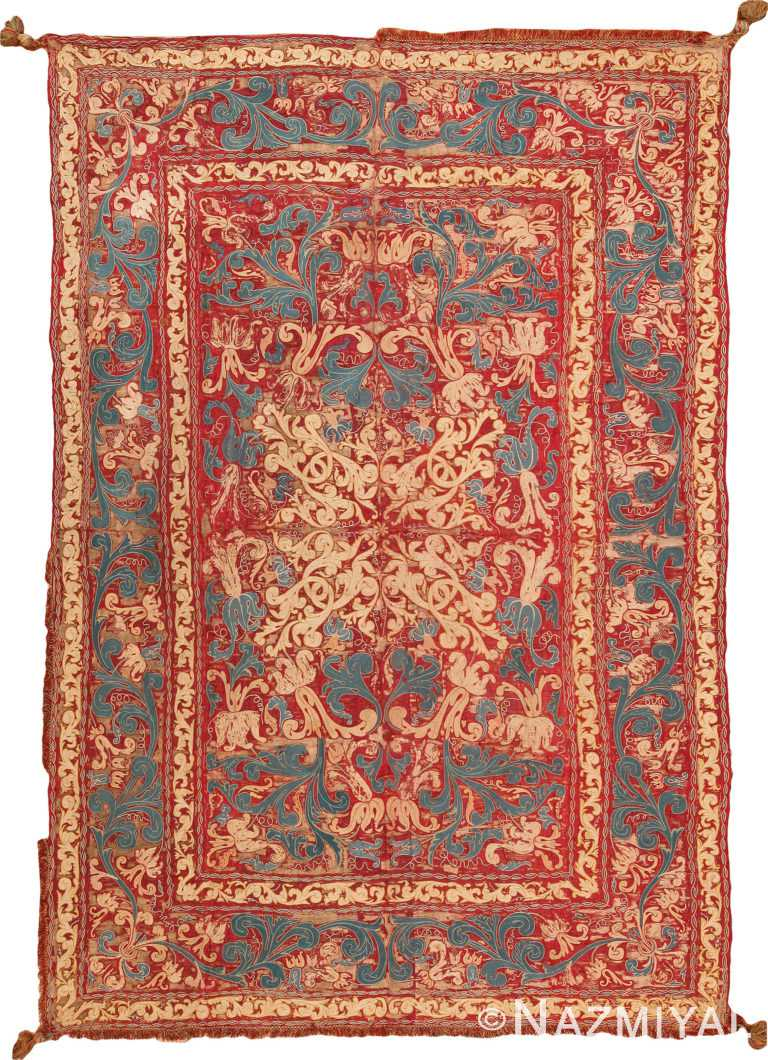 17th Century Antique Italian Embroidery Textile 70853 by Nazmiyal NYC