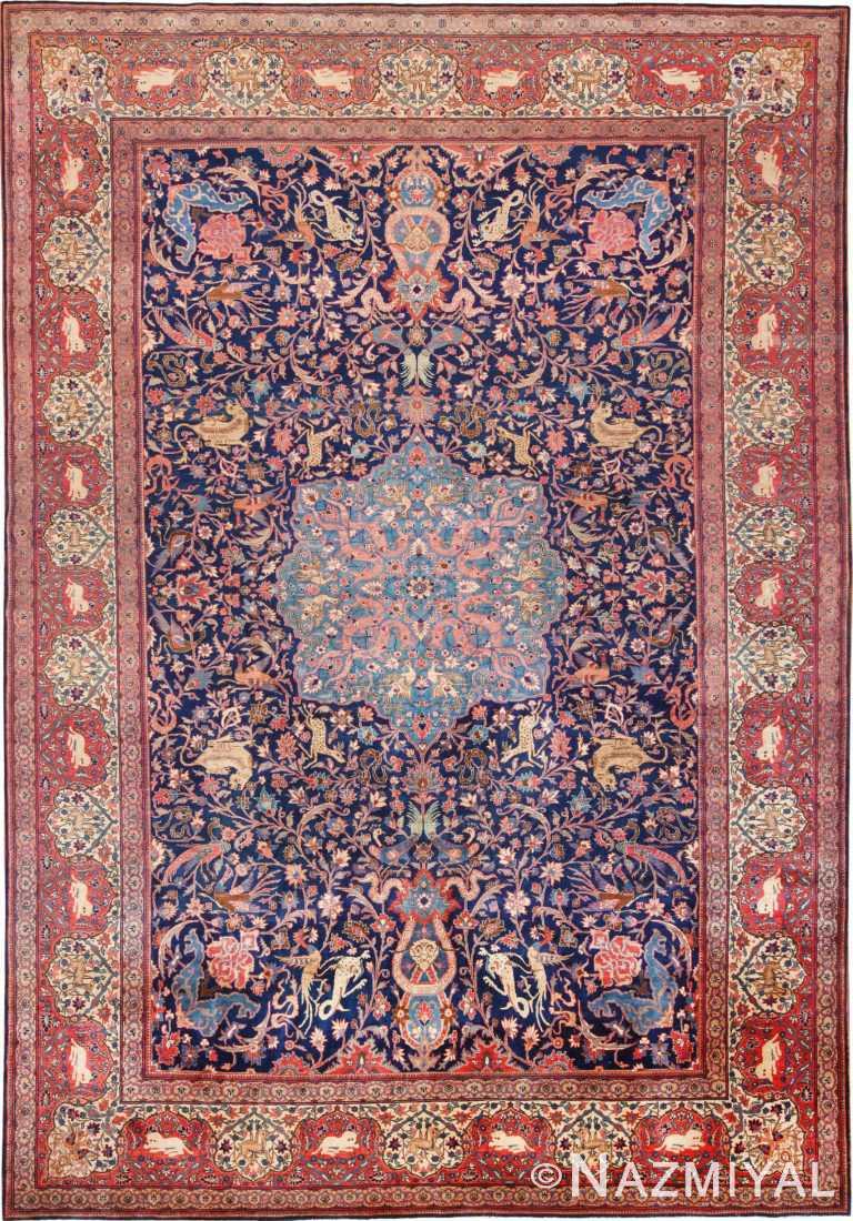 Antique Animal Design Persian Sarouk Farhan Rug 70867 by Nazmiyal Antique Rugs