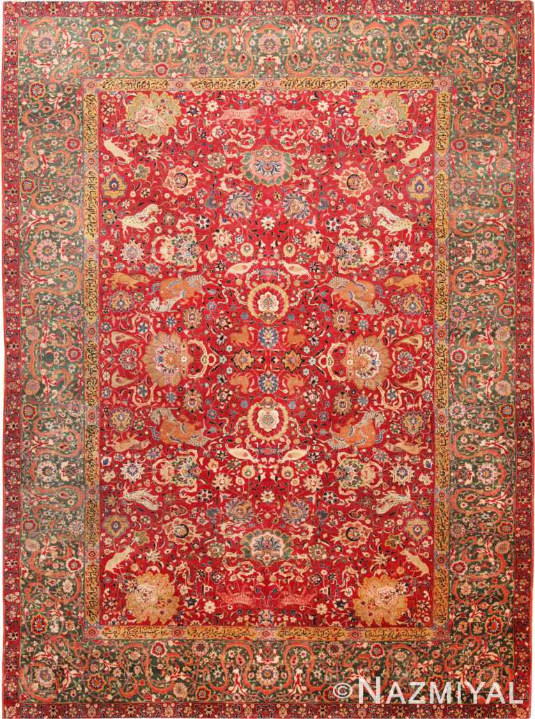 Antique Persian Animal Design Tabriz Area Rug #70868 by Nazmiyal Antique Rugs