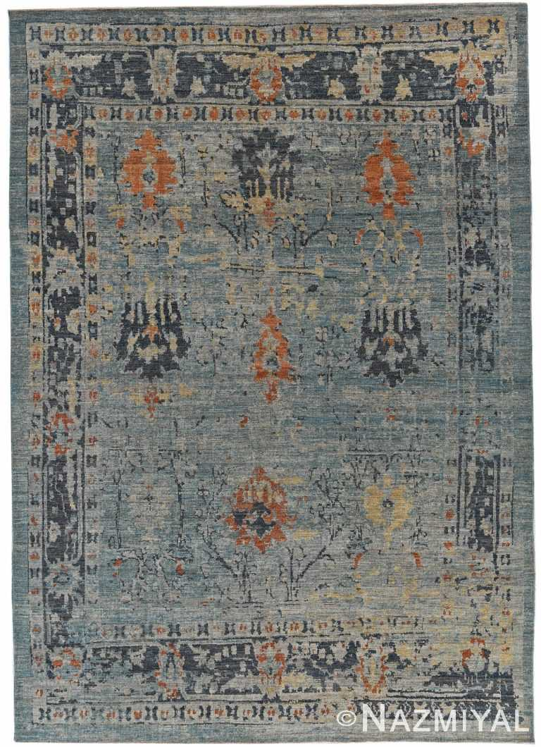 Blue Modern Turkish Oushak Rug 60522 by Nazmiyal NYC