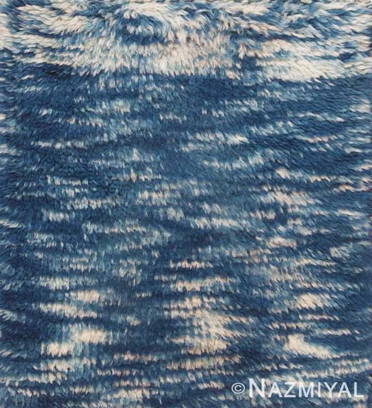 Blue Plush Wool Pile Modern Moroccan Custom Bespoke Area Rug Sample 60651 by Nazmiyal Antique Rugs