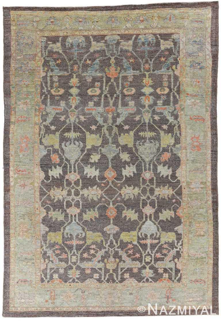 Brown Modern Turkish Oushak Rug 60519 by Nazmiyal NYC
