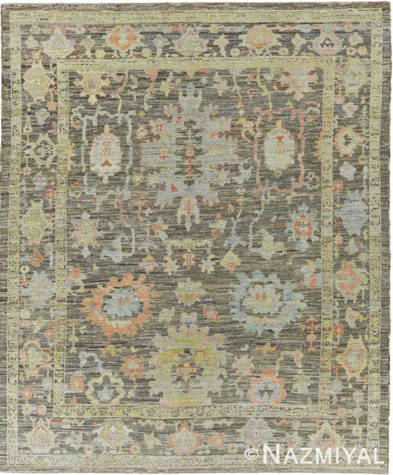 Charcoal Brown Modern Turkish Oushak Rug 60515 by Nazmiyal NYC