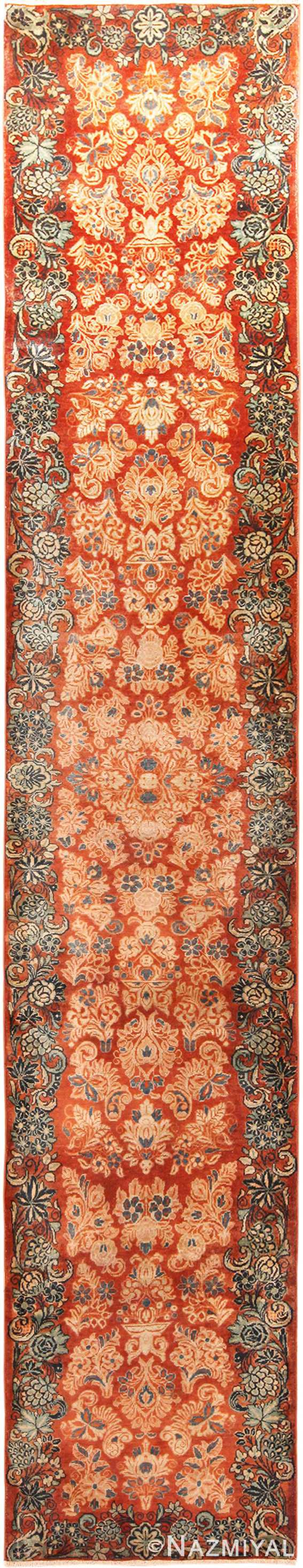 Floral Antique Persian Sarouk Runner 70817 by Nazmiyal NYC