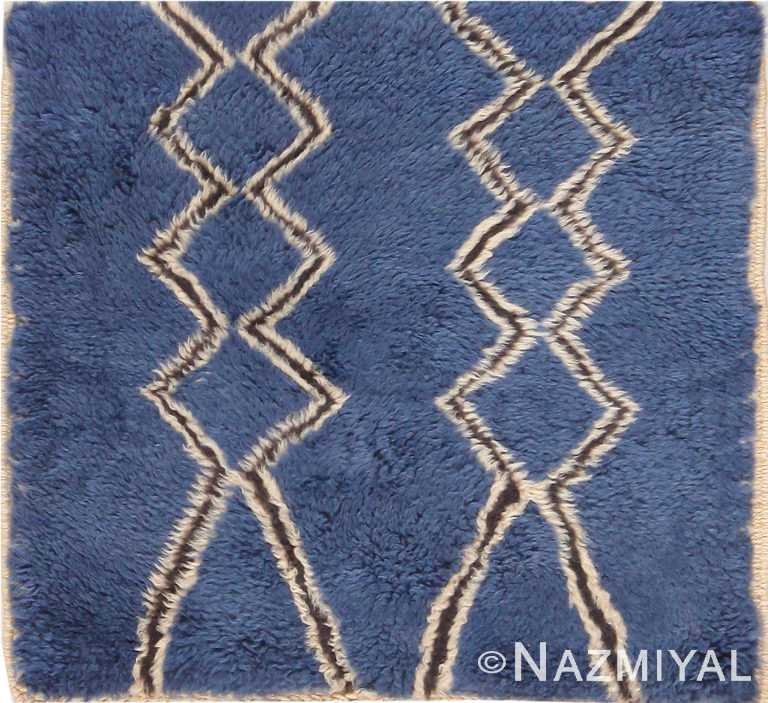 Modern Blue Custom Moroccan Rug Sample 60613 by Nazmiyal Antique Rugs